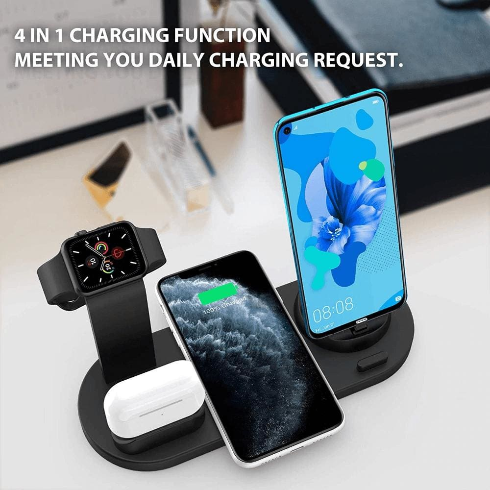 Fast Charging Wireless Charger Stand 3 in 1 for Apple Watch Airpods Qi iPhone Pic1