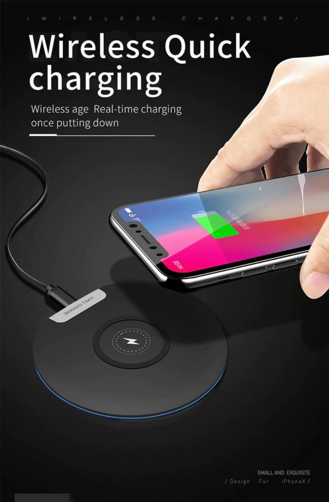 Ultra Thin 10W Qi fAST Wireless Charger for iPhone Samsung S9 S10 Note 10 9 Pic1