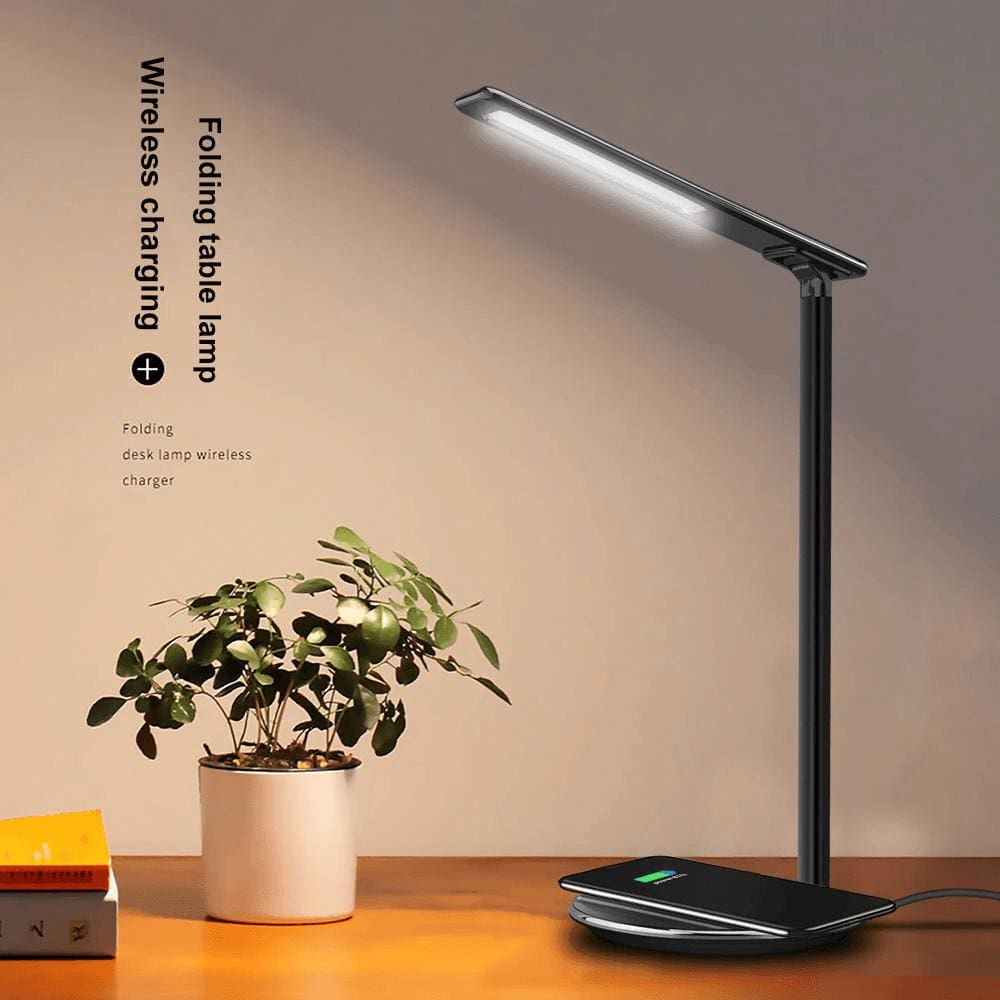 2 In 1 LED Desk Lamp Night Light Qi Fast Wireless Charger 10W for iPhone Samsung Pic1