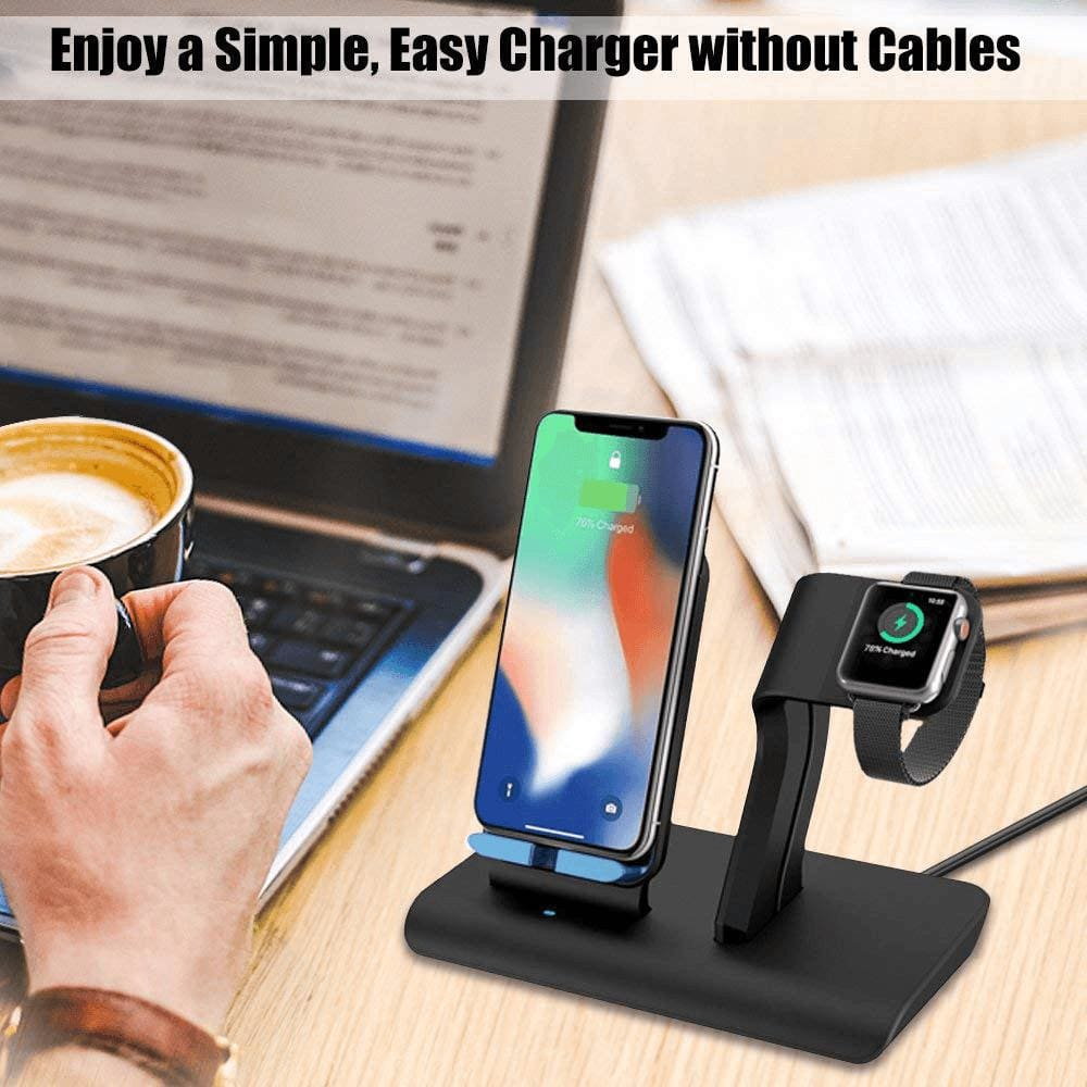 2 in 1 Qi 10W Fast Wireless Charger Stand for iPhone Airpods Apple Watch iWatch Pic1