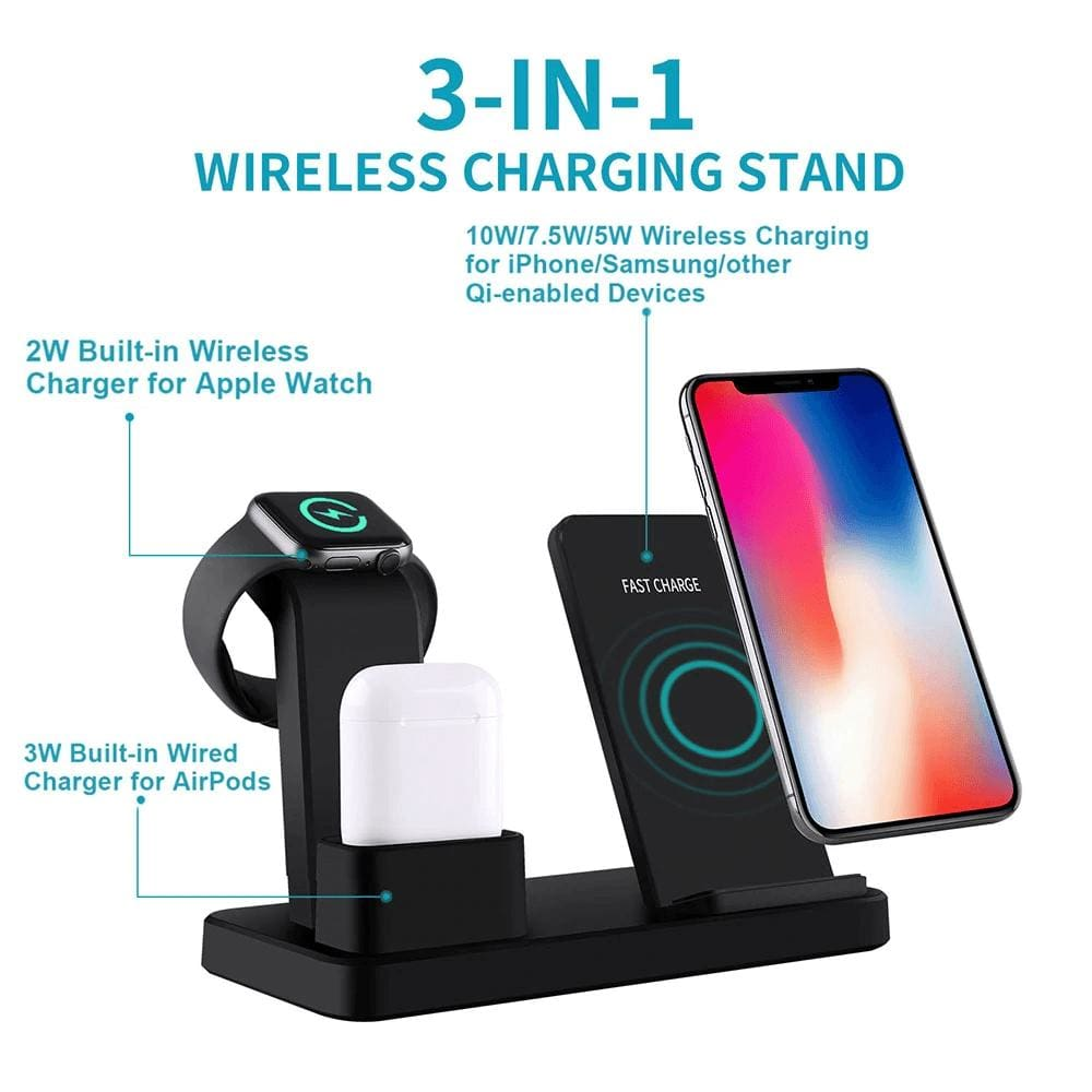 3 in 1 10W Fast Wireless Charger Charging Stand for iPhone Airpods Apple Watch Pic2