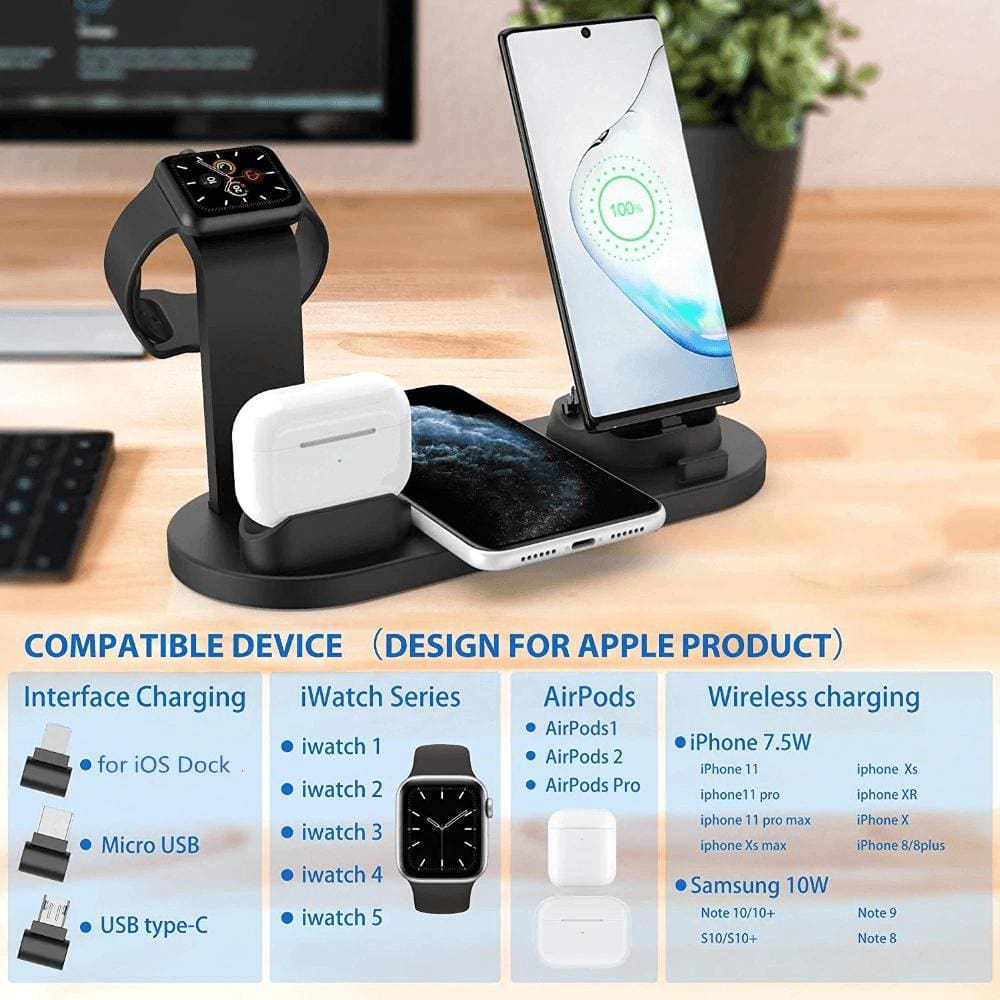 Fast Charging Wireless Charger Stand 3 in 1 for Apple Watch Airpods Qi iPhone Pic2