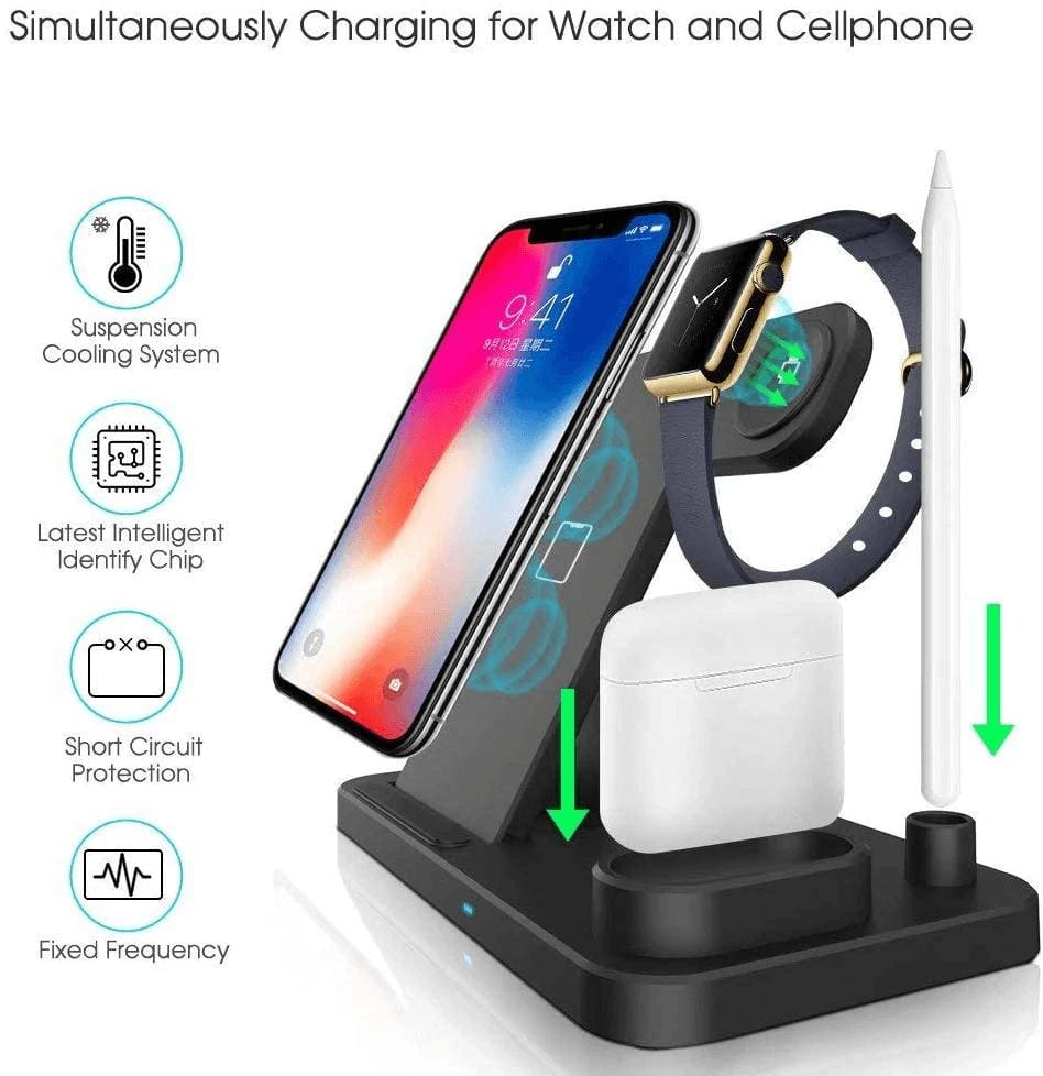 Wireless Fast Charger Charging Station 10W Qi Apple Watch Airpods iWatch iPhone Pic2