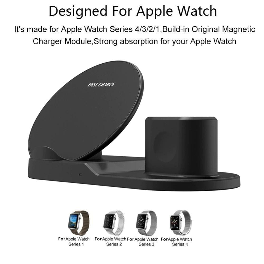 3 In 1 Wireless Charging Station For Apple Watch Airpods 10W Qi iPhone Samsung Pic2