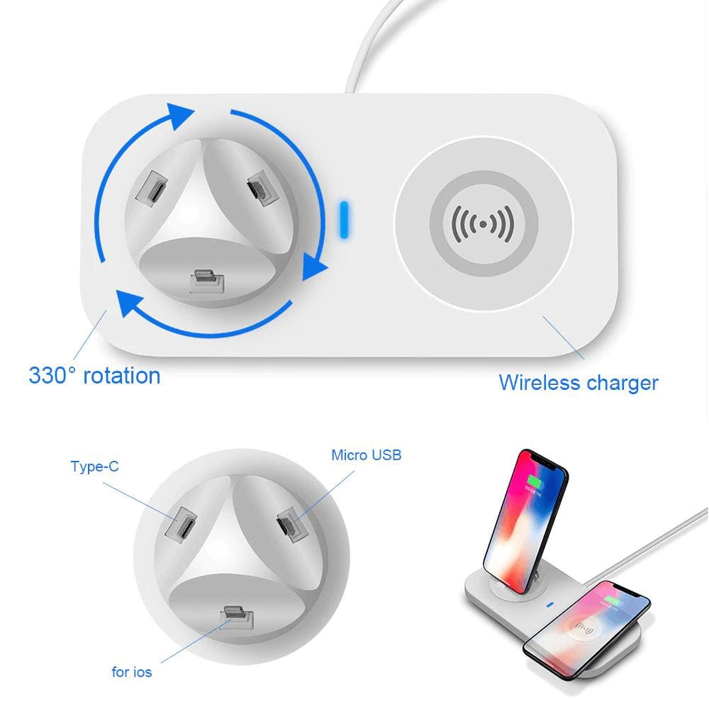 3 in 1 Qi Wireless Charger for iPhone Airpods iPad Samsung Xiaomi Redmi Huawei Pic2