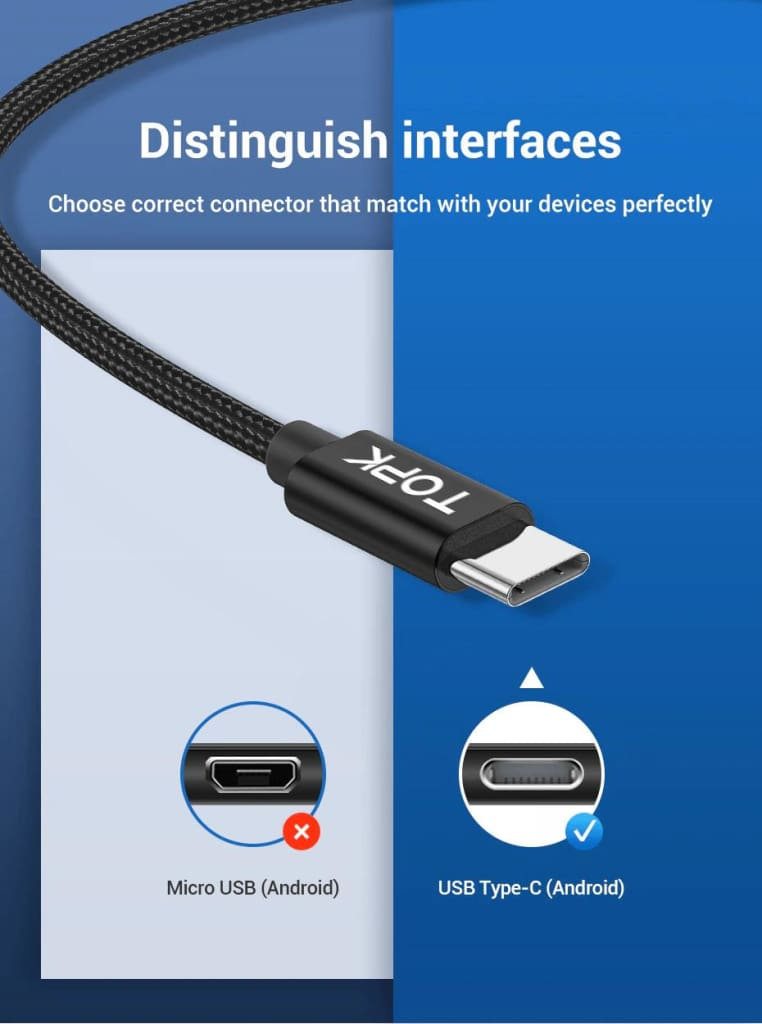 USB Type C Cable 3A Fast Charging Data Sync for Samsung Huawei Black Red 0.5M 1M Pic2