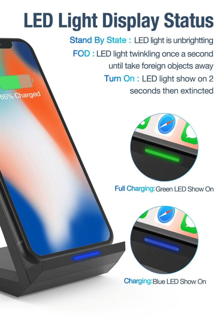 15W Qi Quick Wireless Charger QC 3.0 Fast Charging Stand For iPhone Samsung Pic11