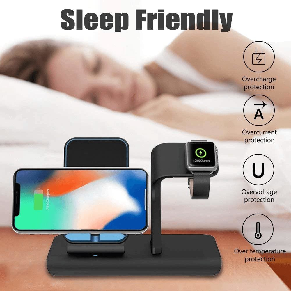 2 in 1 Qi 10W Fast Wireless Charger Stand for iPhone Airpods Apple Watch iWatch Pic11