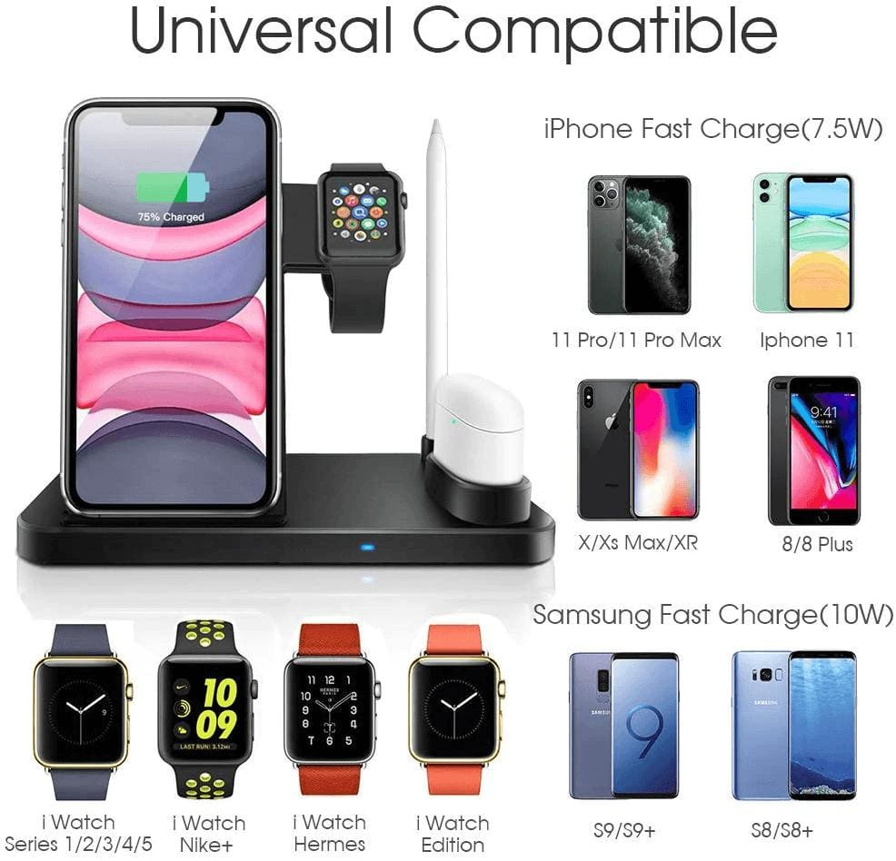 Wireless Fast Charger Charging Station 10W Qi Apple Watch Airpods iWatch iPhone Pic3