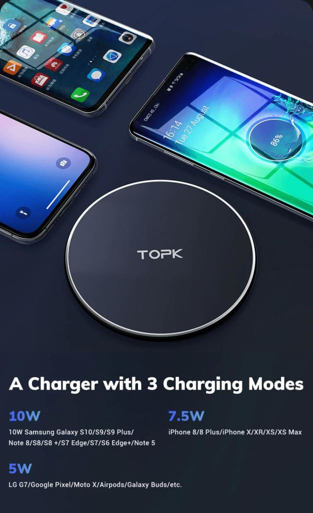 Wireless Charger 10W LED Portable Universal Fast Wireless Phone Charger Pic3