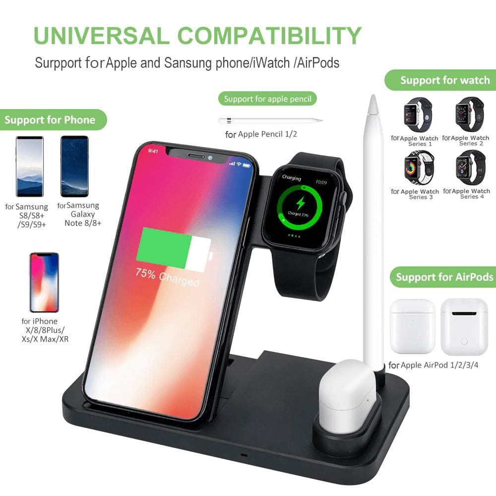 Wireless Charger Charging Stand For Apple Watch iPhone AirPods Samsung Fast QI  Pic3