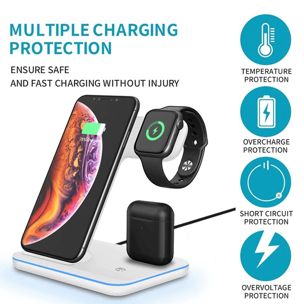 3 in 1 15W QI Wireless Charger for iPhone 11 XS XR X 8 Samsung Airpods iWatch Pic3
