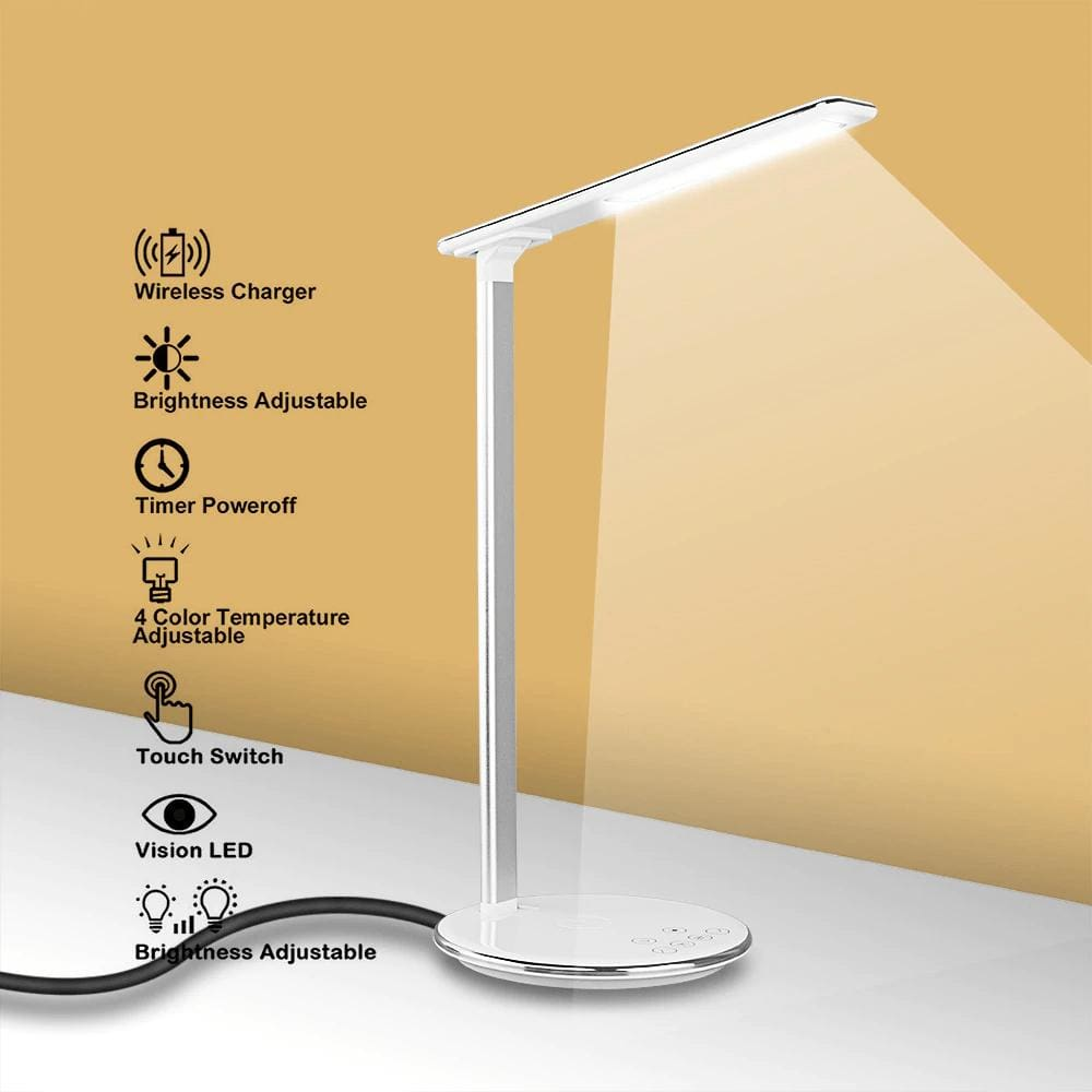 2 In 1 LED Desk Lamp Night Light Qi Fast Wireless Charger 10W for iPhone Samsung Pic3