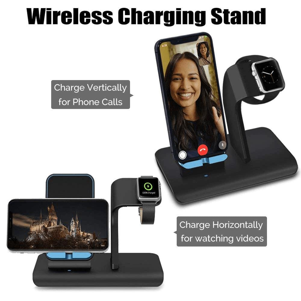 2 in 1 Qi 10W Fast Wireless Charger Stand for iPhone Airpods Apple Watch iWatch Pic3