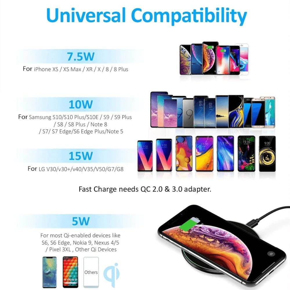 15W Fast Qi Wireless Charger For iPhone 11 X XR XS Samsung Note 10 9 S8 S9 S10 Pic3