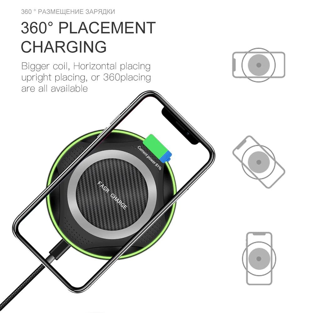 10W QI Fast Wireless Charger for iPhone XS Max XR X 8 Plus Samsung Note 9 S9 S8 Pic3