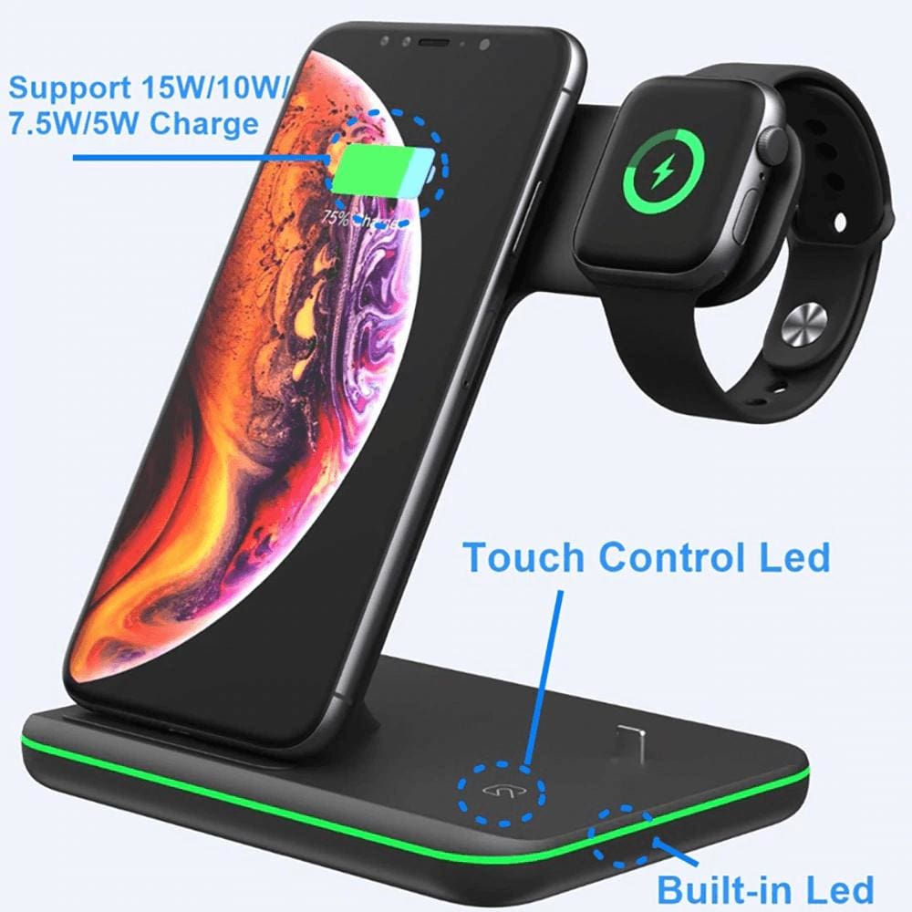 3 in 1 Qi 15W Fast Wireless Charger Stand For iPhone Samsung Apple Watch Airpods Pic3