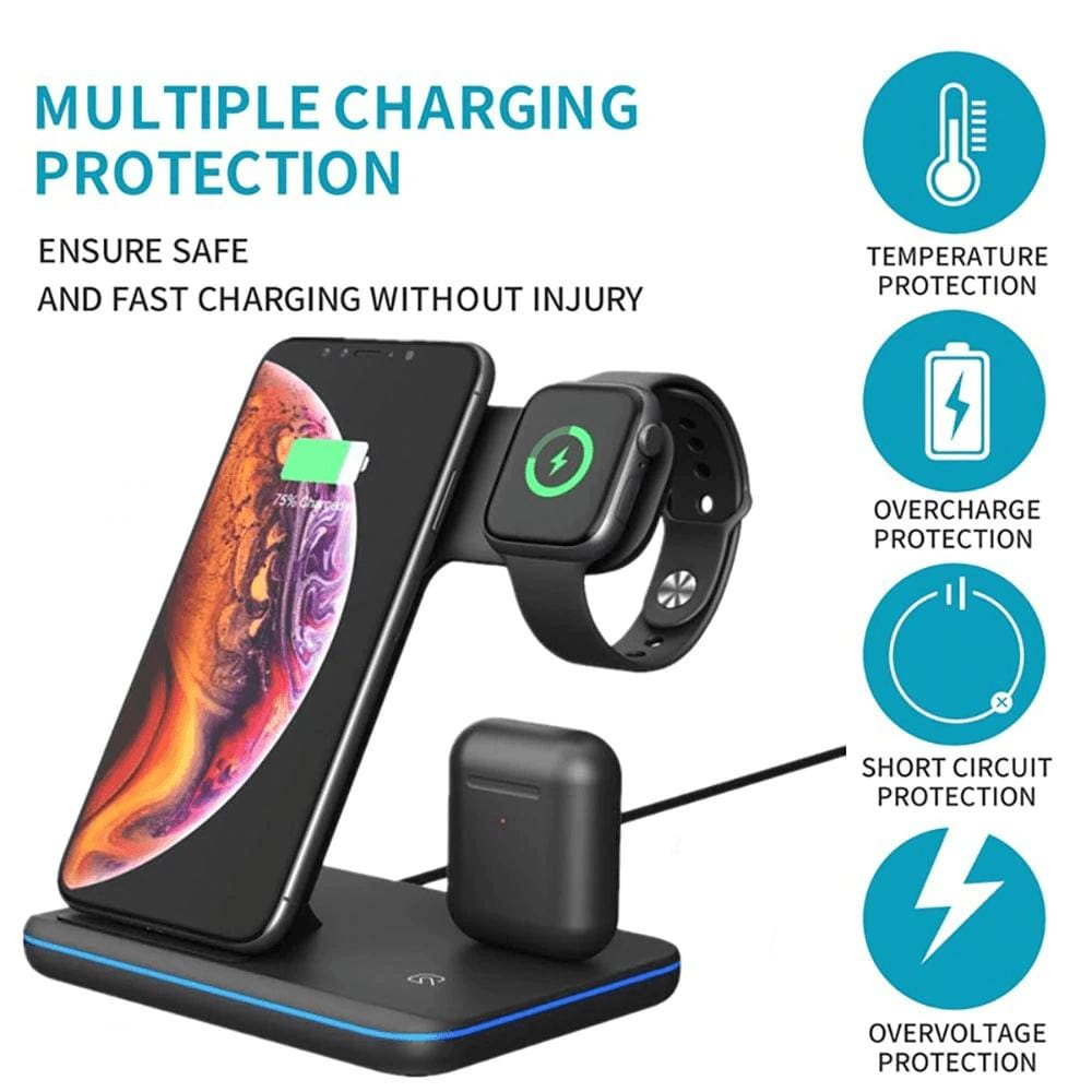 3 in 1 15W Qi Fast Wireless Charger For Apple iWatch AirPods iPhone Samsung Pic3