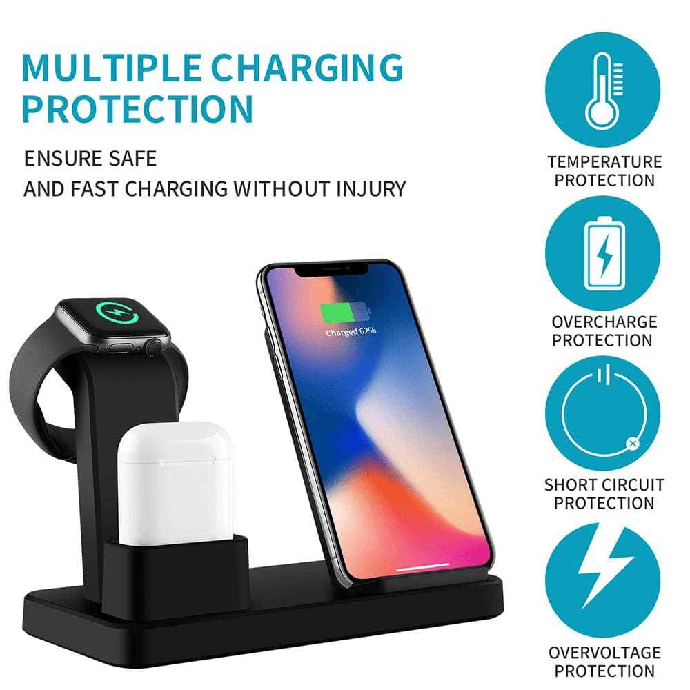 3 in 1 10W Fast Wireless Charger Charging Stand for iPhone Airpods Apple Watch Pic4