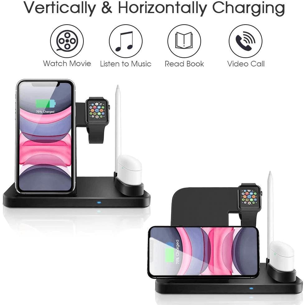 Wireless Fast Charger Charging Station 10W Qi Apple Watch Airpods iWatch iPhone Pic4