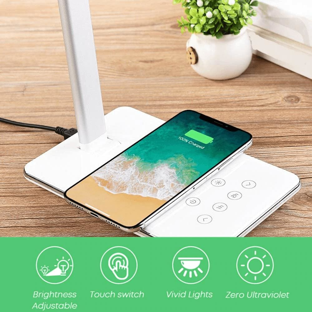 LED Light Desktop Lamp Qi Fast Wireless Charger for XS Max X 8 Samsung S10 S9 Pic4
