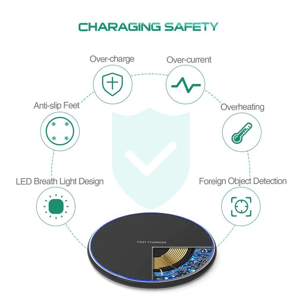 Fast Qi Wireless Charger For iPhone X XS Max XR 8 Plus Samsung S8 S9 S10 Note 9 Pic4