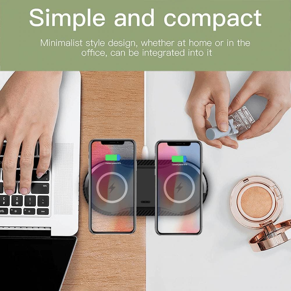 20W Fast Wireless Charger Desktop Charging Station Dual Qi For Samsung iPhone LG Pic4