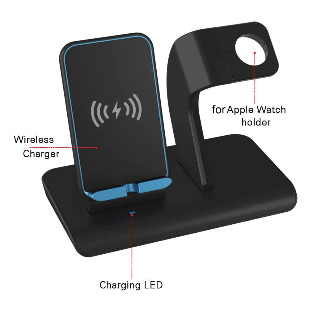 2 in 1 Qi 10W Fast Wireless Charger Stand for iPhone Airpods Apple Watch iWatch Pic4