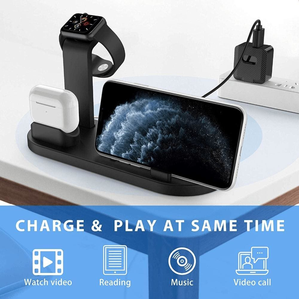 Fast Charging Wireless Charger Stand 3 in 1 for Apple Watch Airpods Qi iPhone Pic5