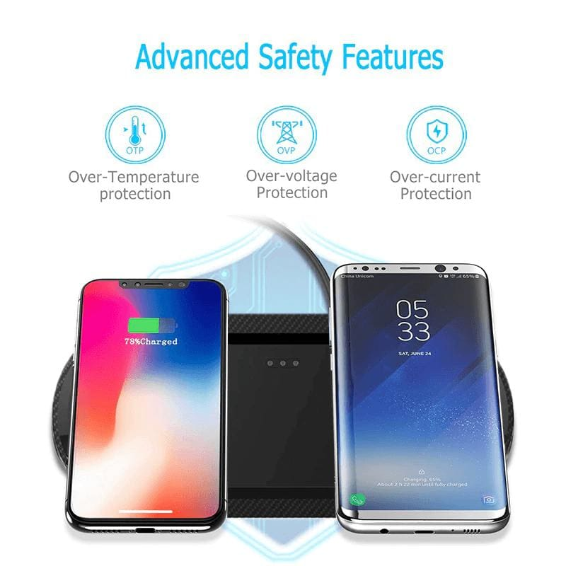 20W Fast Wireless Charger Desktop Charging Station Dual Qi For Samsung iPhone LG Pic5