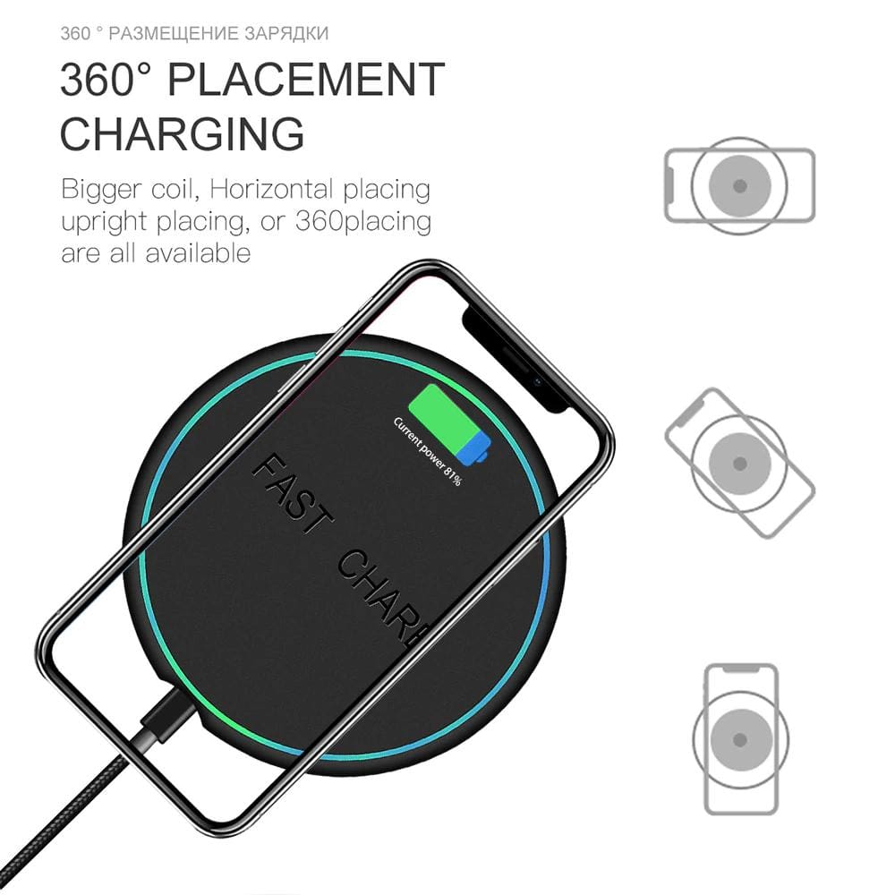 10W Qi Fast Wireless Charger For Samsung Galaxy S10 S9 S8 Plus Note 10 9 iPhone Pic5