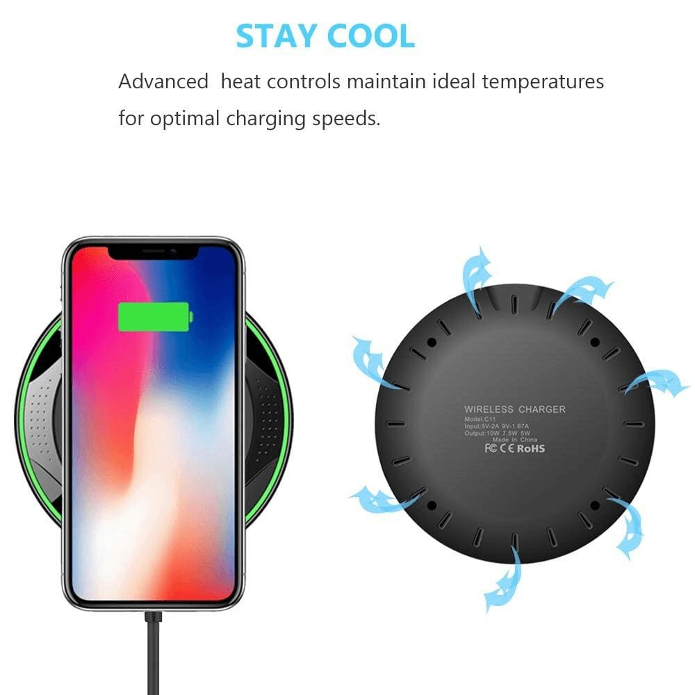 10W QI Fast Wireless Charger for iPhone XS Max XR X 8 Plus Samsung Note 9 S9 S8 Pic5
