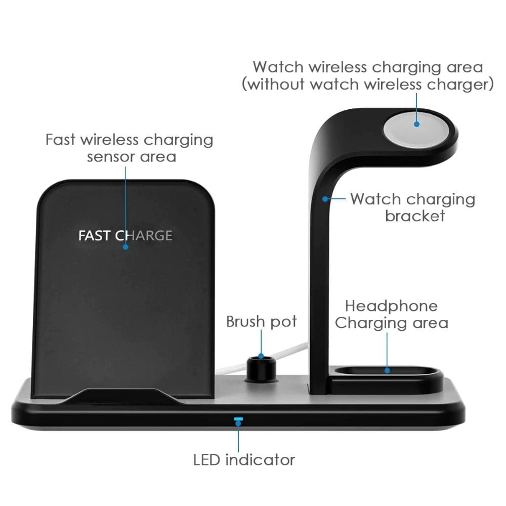 Qi Fast Charging 3 in 1 10W Wireless Charger for iPhone AirPods Apple Watch Pic5