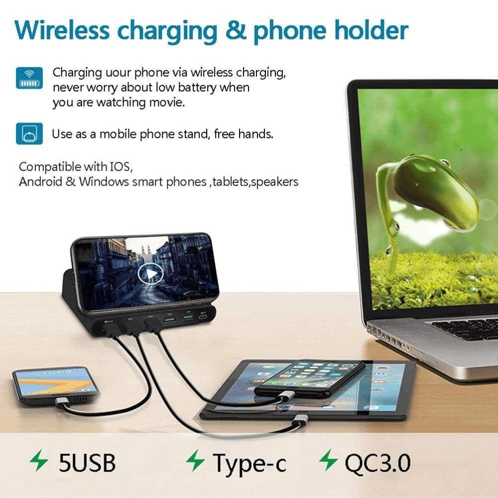 Quick Charge 3.0 USB Qi Fast Wireless Charging Dock Station iPhone Samsung Pic6