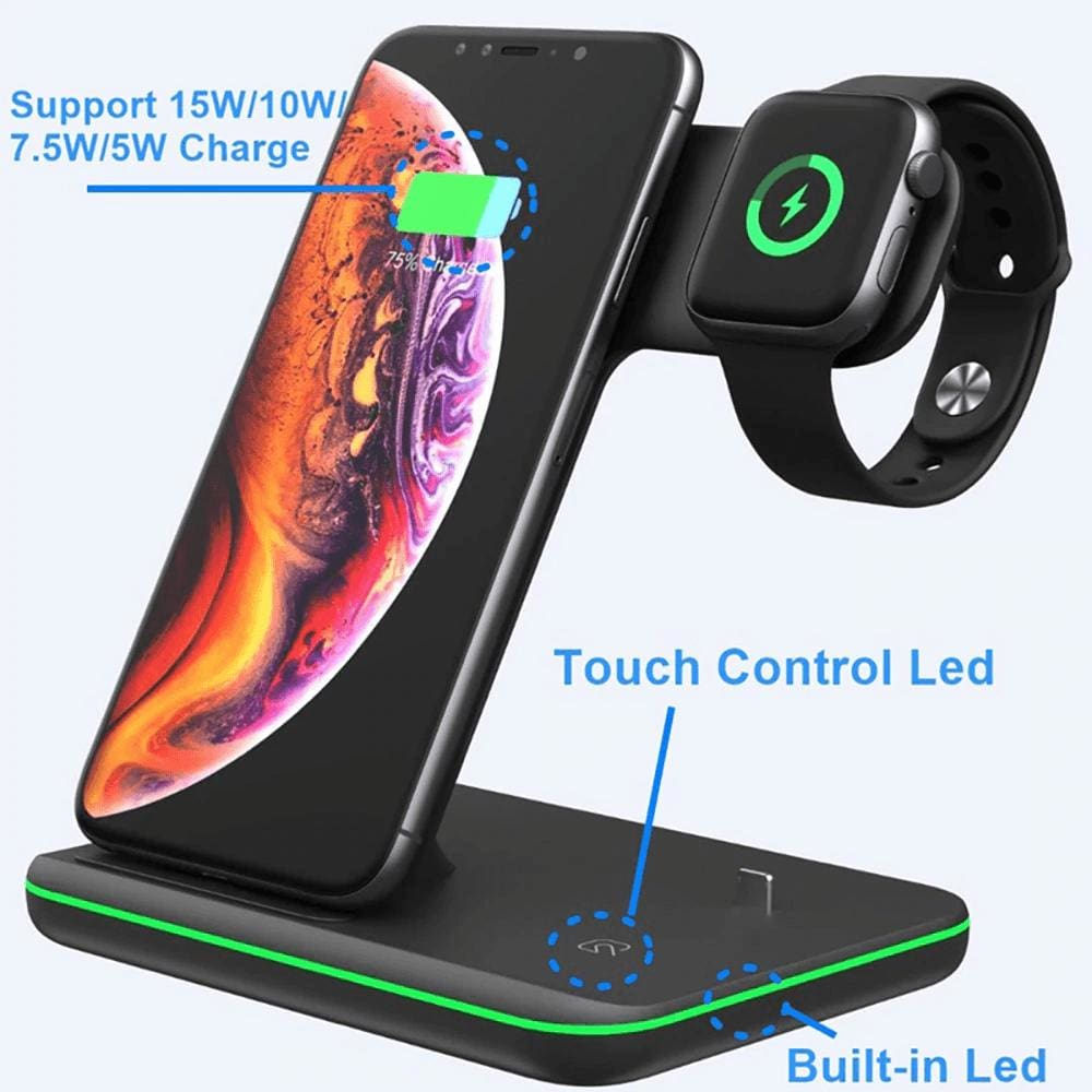 3 in 1 15W Qi Fast Wireless Charger For Apple iWatch AirPods iPhone Samsung Pic6