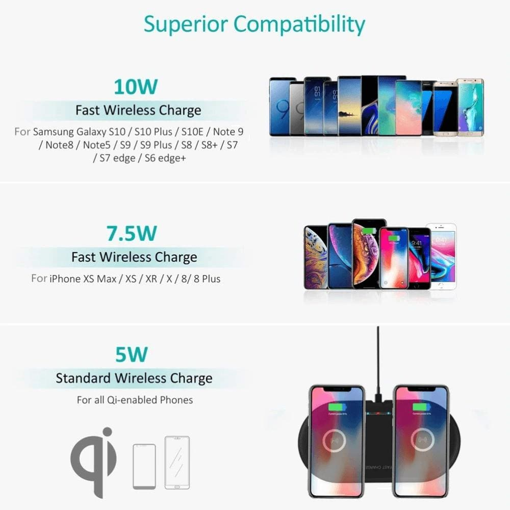 20W 2 in 1 Wireless Charger iPhone 11 8 X XS Max XR Samsung S9 S10 Note 10 9 8 Pic7
