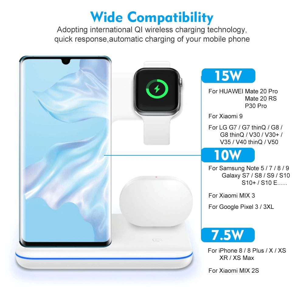 3 in 1 15W QI Wireless Charger for iPhone 11 XS XR X 8 Samsung Airpods iWatch Pic7