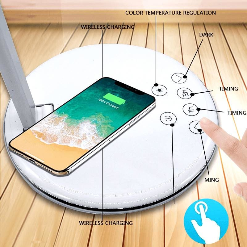2 In 1 LED Desk Lamp Night Light Qi Fast Wireless Charger 10W for iPhone Samsung Pic7