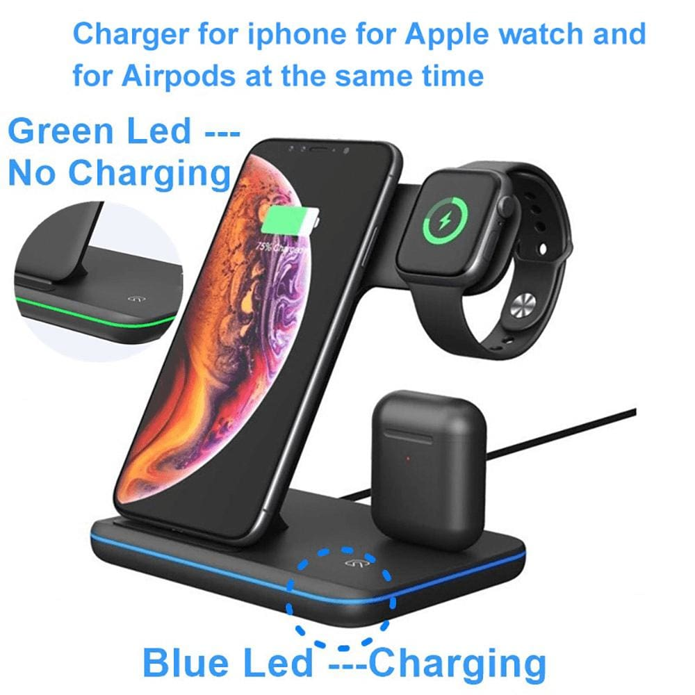 3 in 1 15W Qi Fast Wireless Charger For Apple iWatch AirPods iPhone Samsung Pic8