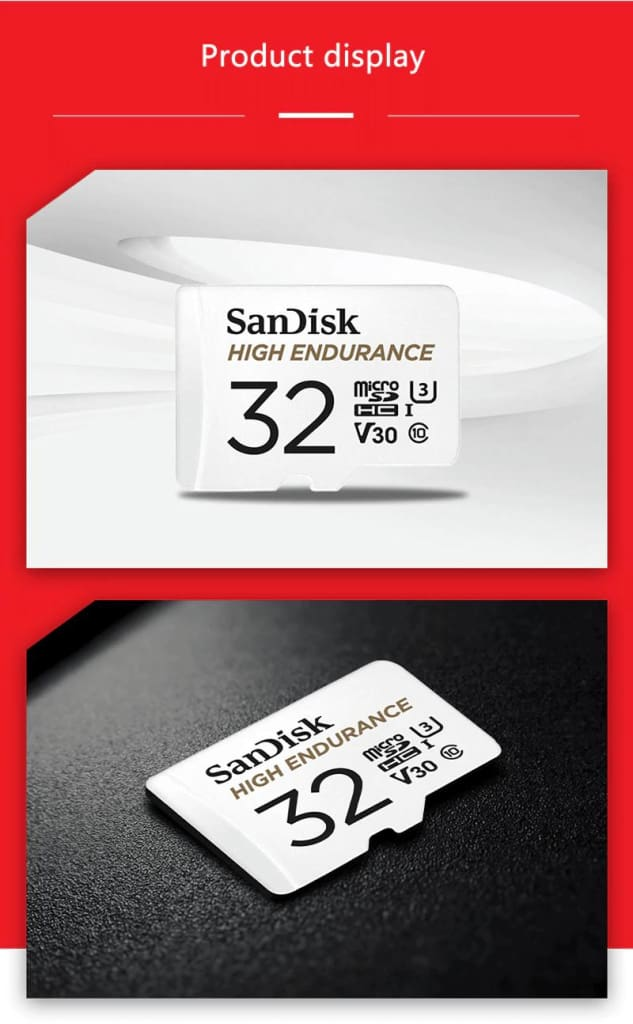 SanDisk Micro SD Card High Endurance Video Monitoring 32GB 64GB 128GB 256GB Pic8
