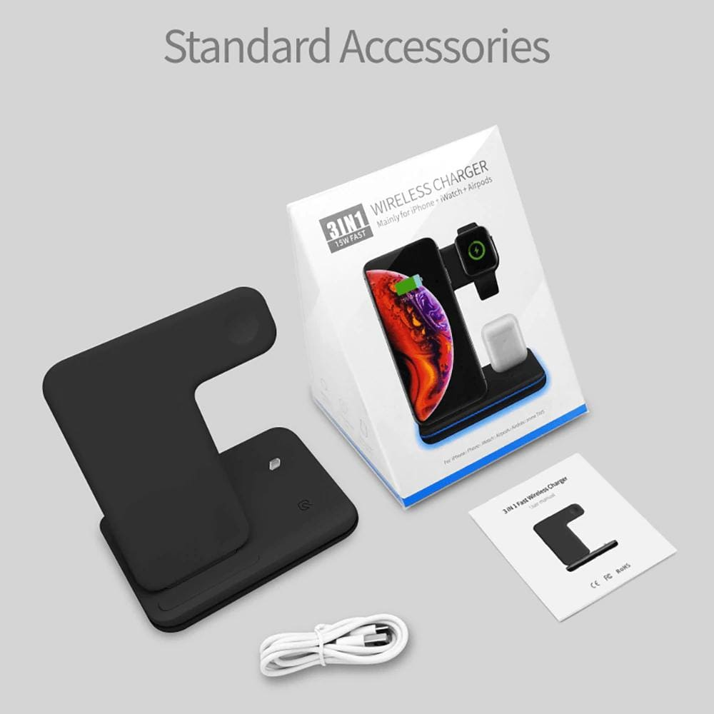 3 in 1 15W QI Wireless Charger for iPhone 11 XS XR X 8 Samsung Airpods iWatch Pic8