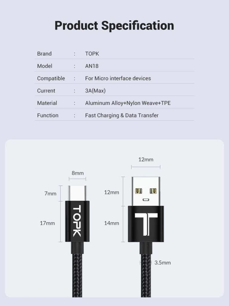 USB Type C Cable 3A Fast Charging Data Sync for Samsung Huawei Black Red 0.5M 1M Pic8