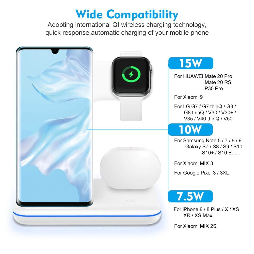 3 in 1 15W Qi Fast Wireless Charger For Apple iWatch AirPods iPhone Samsung Pic9