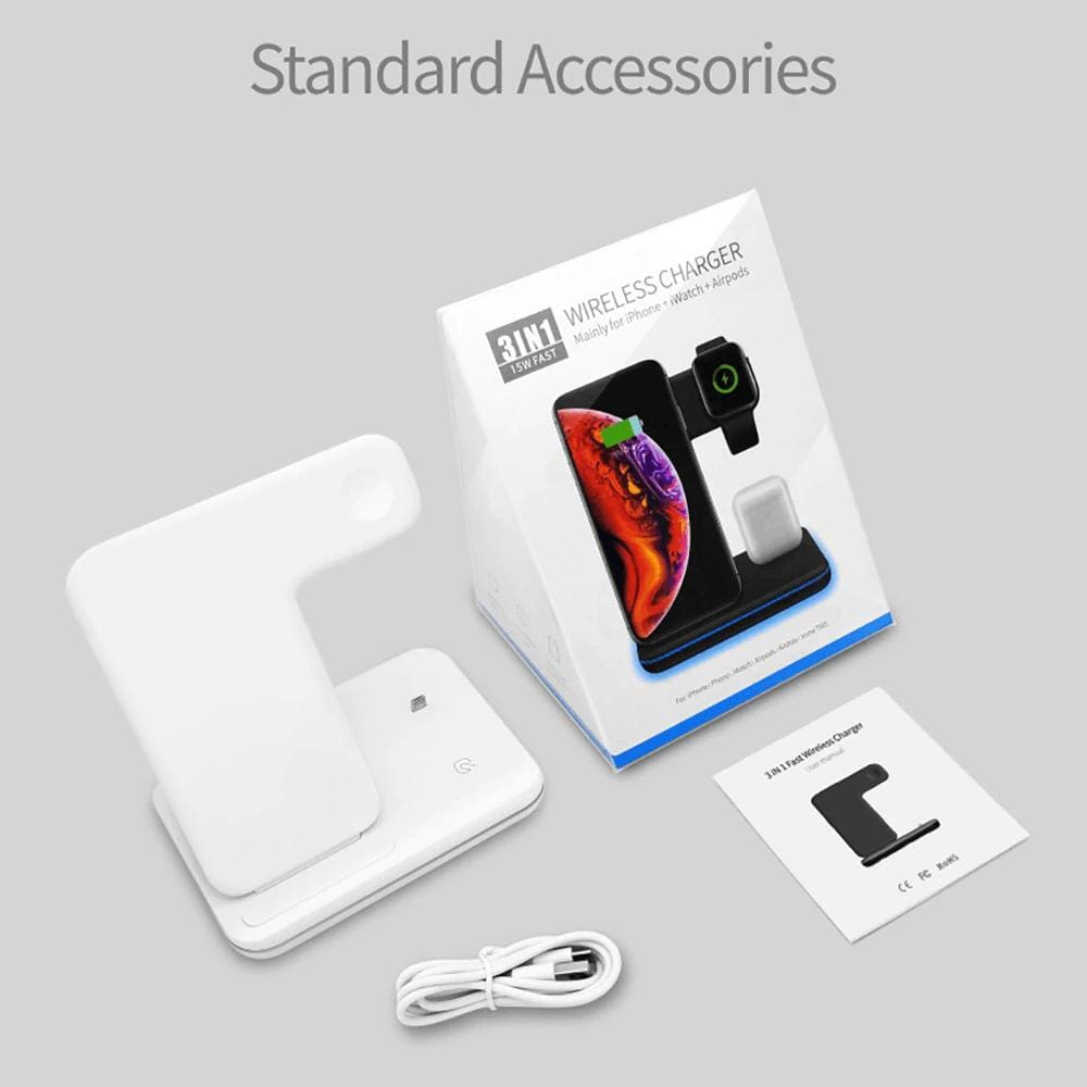 3 in 1 15W QI Wireless Charger for iPhone 11 XS XR X 8 Samsung Airpods iWatch Pic9