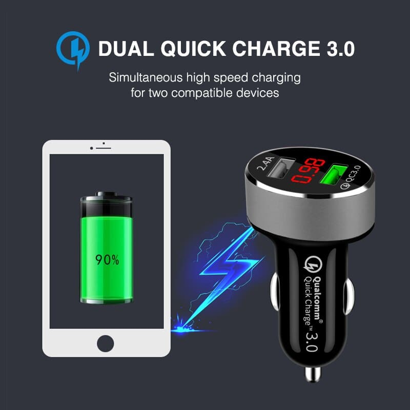 QC 3.0 Car Charger 2 Ports Dual USB Fast Quick Charger 3.1A LED Voltage Monitoring