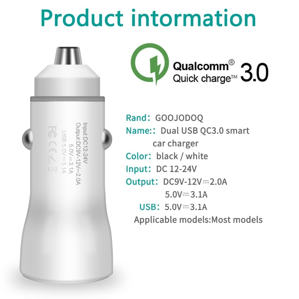 3.0 dual fast USB car charger quick charge 3.0+3.1a car USB