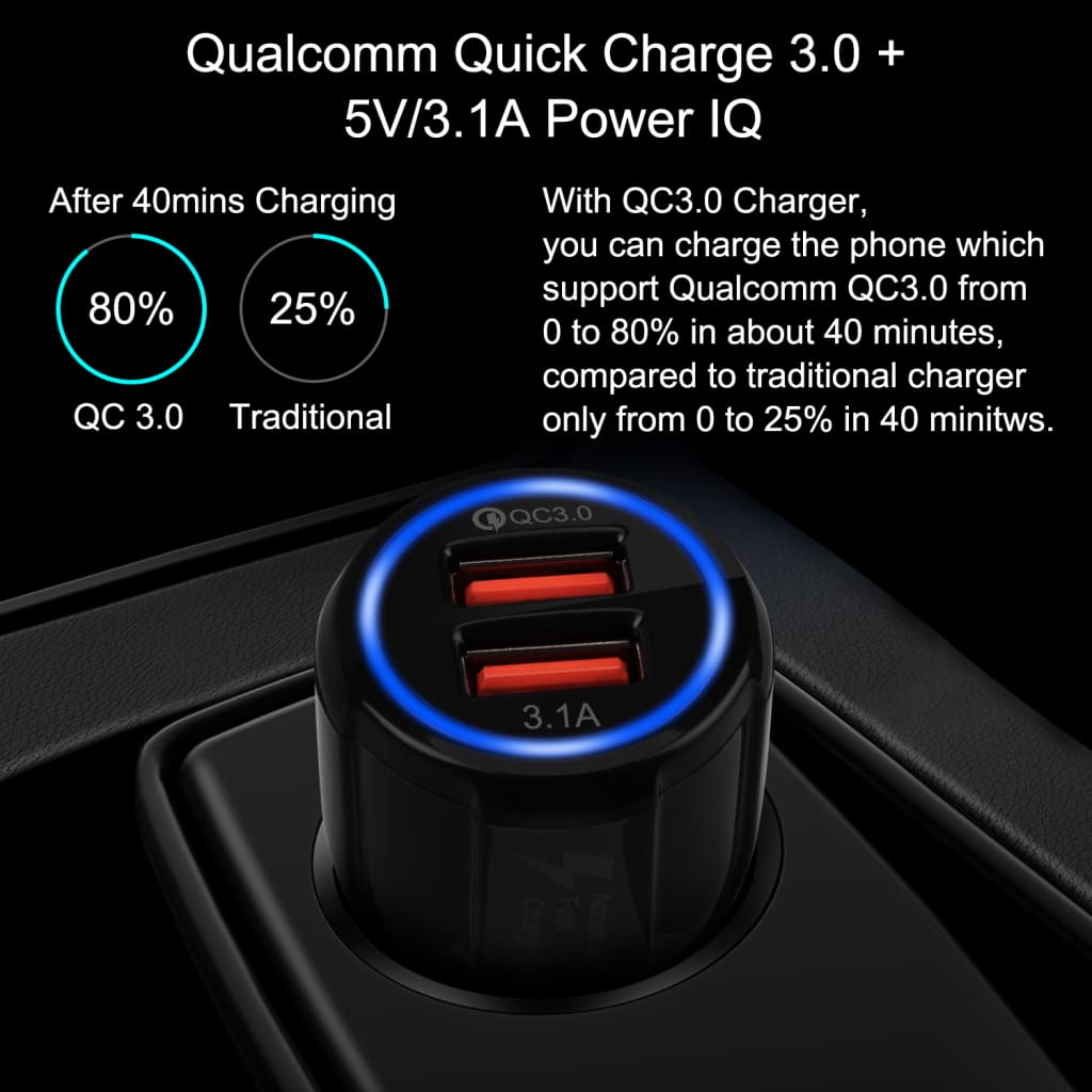 QC 3.0 Car Charger Quick Charge Dual Car Charger Fast Charging Adapter Mini USB