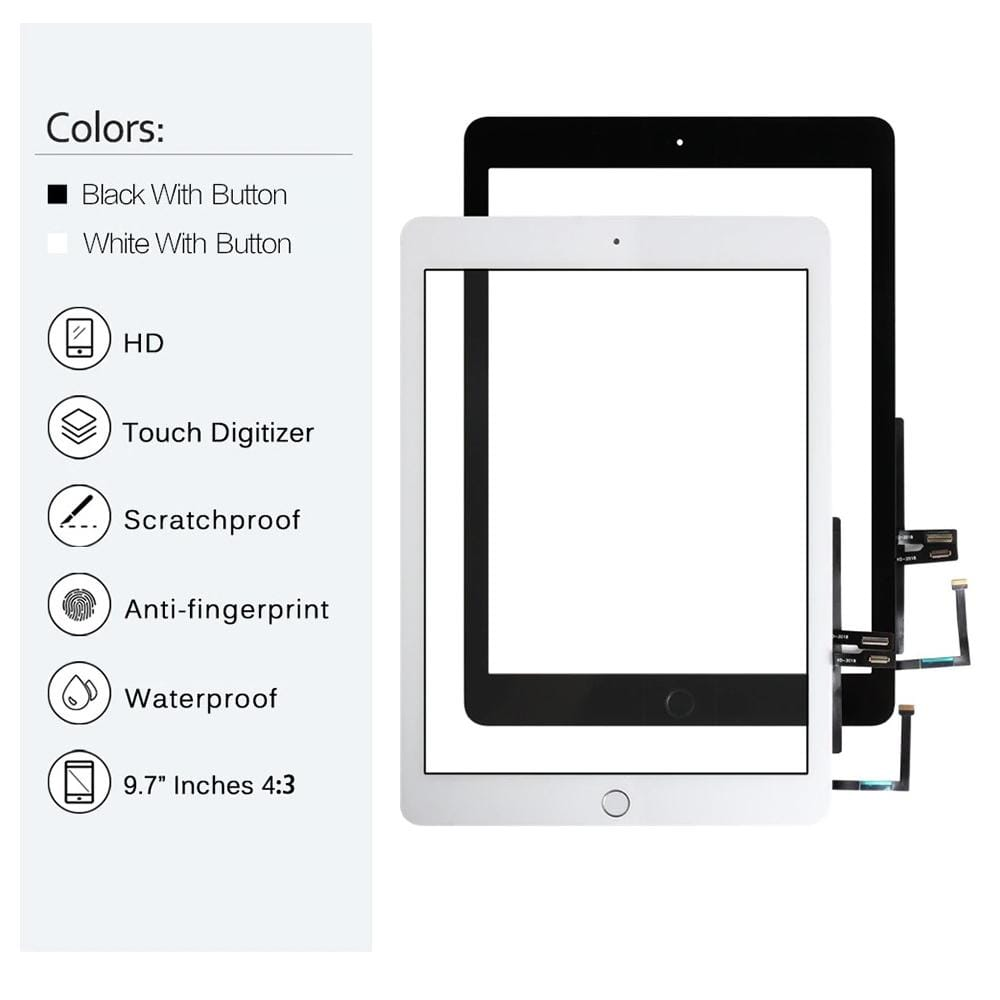 Touch Screen Digitizer for iPad 6th Generation (2018) A1893 A1954 Black / White Pic0
