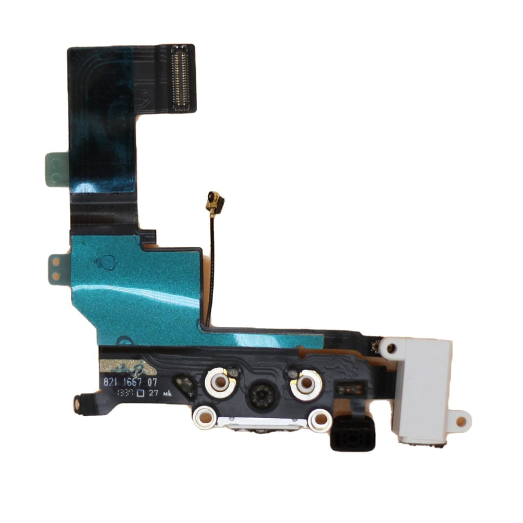New White iPhone 5S Charging Port + Microphone + Audio Jack Flex Cable Pic1