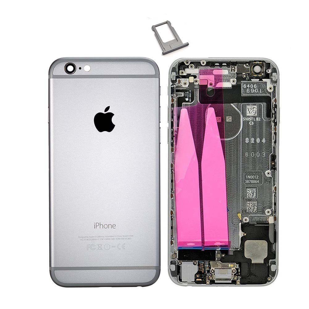 Gray Back Housing Mid Frame Assembly Replacement with Parts for iPhone 6 A1549 A1586 A1589 Pic0